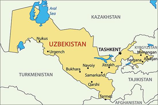 Uzbekistan Map veres Vert